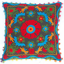 16'' Cotton fabric Cushion Cover Christmas Gift Suzani Embroidered Pillow Case.1