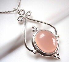 Rose Quartz Necklace 925 Sterling Silver Ethnic Tribal Style Accented New