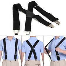 50mm Extra Wide Adjustable Elastic Mens Suspenders Clip-On Braces Trouser