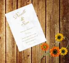 Personalised Handmade Wedding Invitations Invites Day Evening x 50 Marble AWI37