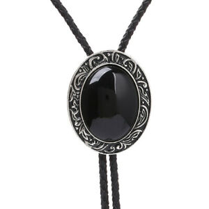 Black Agate Mens Bolo Tie Wedding Necklace PU Leather Rope Western Cowboy Style