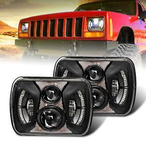 5x7 Halo Led Headlights 7x6 Black Headlamp for Jeep YJ Cherokee XJ H5054 H6054LL