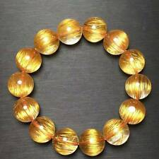 Natural Copper Rutilated Quartz Crystal Cat Eye Beads Bracelet 15mm AAAAA