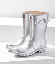 Hunter Original Metallic Silver Short Rain Boot Size US 9 EU 40/41 Retail $140
