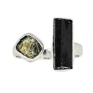 Black Tourmaline Point & Moldavite 925 Silver Ring Jewelry s.8 ALLR-2307
