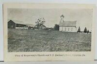 Enterline Pa. View of Bowerman's Church and CF Harman's Store 1908 Postcard M9