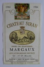 Etiquette Château SIRAN 1984