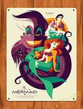 "Disney Tin Sign ""The Little Mermaid""  Vintage Ride Art Painting Movie Poster"