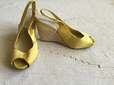 Nine West Yellow Sling Back Straw Style Wedges Sandal Size 4