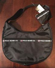 Polo Jeans Purse Co Ralph Lauren  Kidney Shape Black Nylon Zip Shoulder Bag NEW