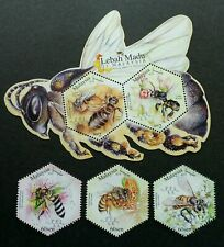 Malaysia 2019 Honey Bees Insects Odd Shape Stamps 3v + Minisheet set MNH
