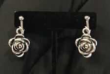 NEW SILVER WHITE GOLD VICTORIAN ROMANTIC BLOOMING ROSE FLOWER EARRINGS CLIP ON