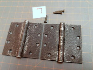 Vintage Pair Butt Hinges Acorn Faux Hammered Iron Finish Warwick Style