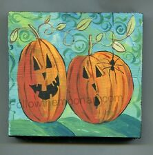2 Happy Jack O Lantern Pumpkins and Scary Spider Halloween Acrylic Wood Painting