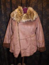 Fabulous Furs NEW Tobacco Faux Suede Fox Trim Shearling Lined Faux Fur Coat XL