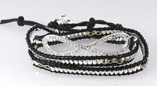 4030762 Eternity Leather Wrap Bracelet Beaded Infinity Fashion Statement