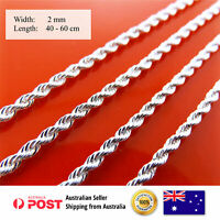 Necklace Chain Real 925 Sterling Silver S/F Solid Ladies Rope Link 40-60cm