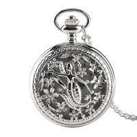 Princess Mermaid Silver Necklace Hollow Quartz Pocket Watch Child Girl Gift