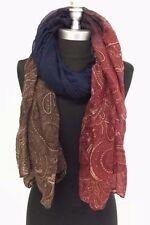 Fashion Women Printed Chiffon Scarf Wrap Ladies Shawl Soft Brown/Burgundy/Navy