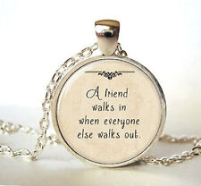 Vintage Words Cabochon Tibetan silver Glass Chain Pendant Necklace gift