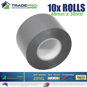 10x Roll PVC Duct Tape 48mm x 30m Silver Great Quality Sealing Duck 30mtr Rolls