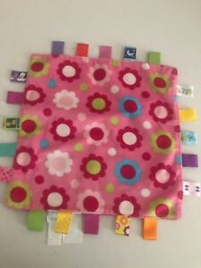 """TAGGIES Pink Floral Lovey Security Blanket Satin Tags 12""""x12"""" Flowers Baby"""