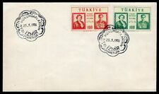 Turkey 1956 first day cover FDC with stamps Mi#1479-1480 used Izmir CV=20€