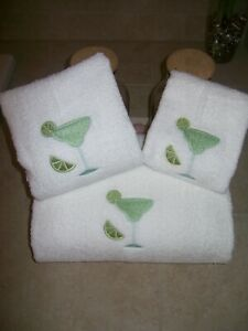 3 piece Embroidered Personalized bath towel set with Lime Margarita glass