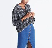Madewell Wms Sz XS Terrace Lace Up Black Gray Plaid Button Down Shirt Wool Blend
