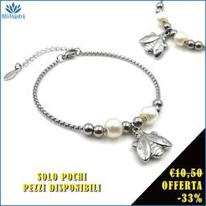 Bracciale da donna braccialetto portafortuna con coccinella in acciaio inox per