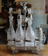 ANTIQUE GORHAM 6 PIECE SILVER PLATE GLASS CRUET SET
