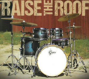 GRETSCH DRUMS RENOWN SATIN ANTIQUE BLUE BURST ORIGINAL FULL PAGE PINUP CLIPPING