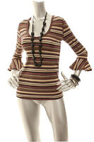 NEW FREE PEOPLE Women Bell 3/4 Sleeve Scoop Neck Top Brown Metallic XS S M L