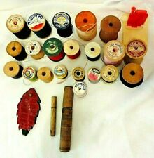Vtg Sewing Collection 21 Wooden Spools 2 Wooden Needle Tubes 1 Threader 1 Holder