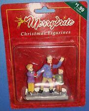 Merrybrite Christmas Village Figurine Man Waving with 2 Children  New