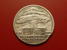 1936 Lebanon 25 Piastres, Silver