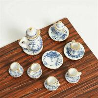 1:12 Dollhouse Miniature Furniture Dining Ware Ceramic Blue Flower 15Pcs Set