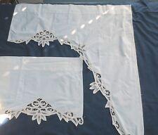 Vtg Cottage Ecru Café Kitchen Curtains & Valance Cotton lace Cutwork