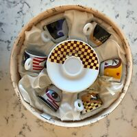 Sarica Free Time Pattern Espresso Mugs w/ complimenting Saucers - Eyes