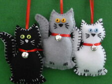 **HAND MADE**1 X FELT CAT with SILVER BELL- HANGING  DECORATION**