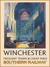 Winchester England Great Britain Vintage Railway Travel Advertisement Poster