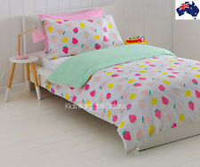 Au-Qty Strawberry Polka Dot RVRSBLE Double/King Single Bed Doona/Quilt Cover Set