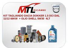 KIT TAGLIANDO DACIA DOKKER 1.5 DCI DAL 11/12 66KW  + OLIO SHELL 5W30  4LT