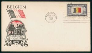 MayfairStamps US FDC Unsealed 1943 Belgium World War II JWC First Day Cover wwo9