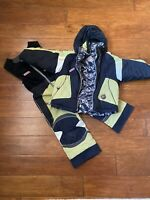 EUC OBERMEYER Boys LIME GREEN SKI SNOW SUIT JACKET Set PANTS BIBS I GROW 4