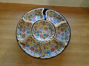 Antique Japanese Satsuma Porcelain  Sweetmeat Set With Wooden Turntable