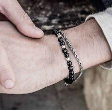 FAMA Mens Black Onyx Beaded Bracelet with Stainless Steel Chain Bracelet