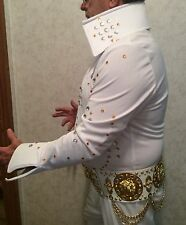 ELVIS IMPERSONATOR DELUXE COSTUME WITH BELT, SHOES, WIG - STAGE WORN ONCE