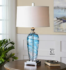 "NEW 32"" MODERN BLOWN GLASS TABLE LAMP LINEN SHADE POLISHED NICKEL DETAIL LIGHT"