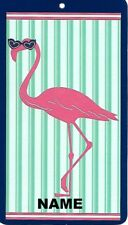 """30"""" x 60"""" Name Embroidered Beach / Pool Towel With Cool Flamingo With Sunglasses"""
